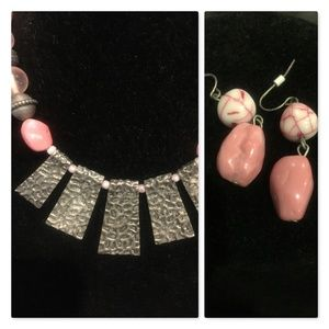 Necklace & earrings, hammered silver, pink stones